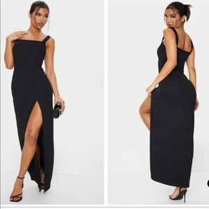 nwot straight neck dress with slit